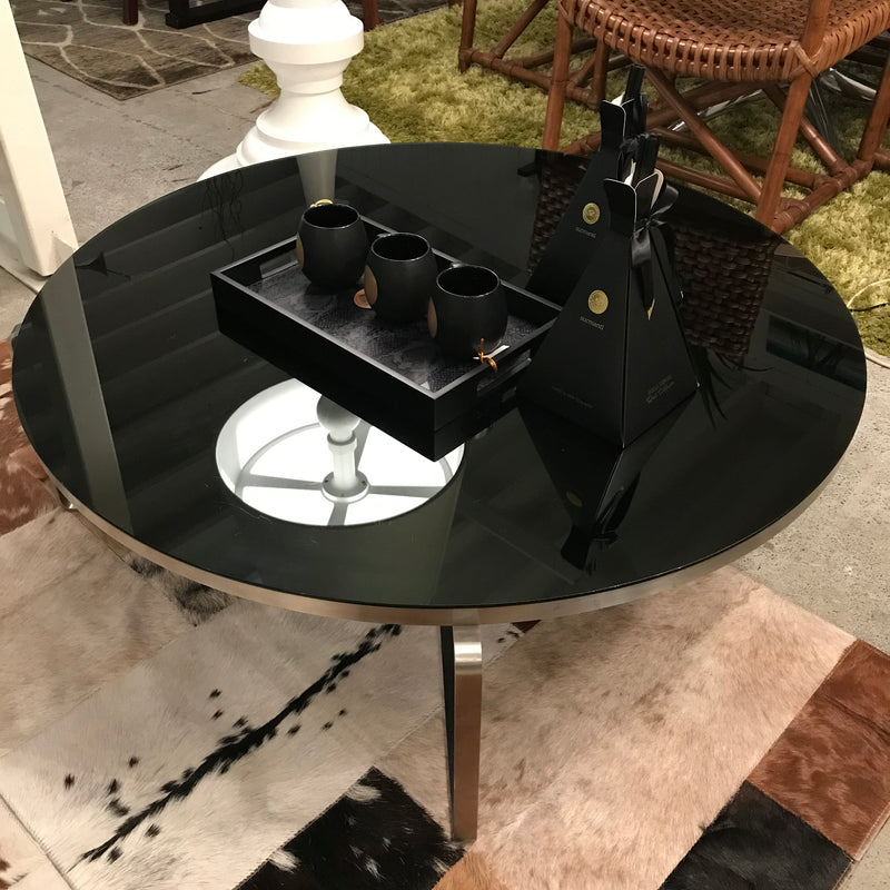 Black Glass Low Coffee Table
