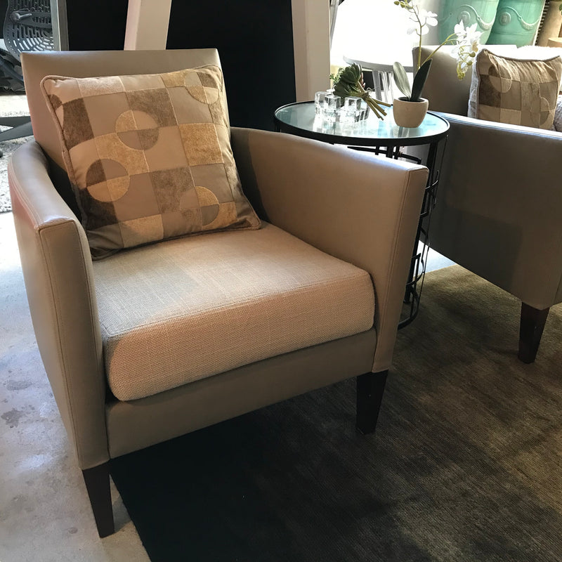 Pair of JNL Leather Armchairs with Linen Seat