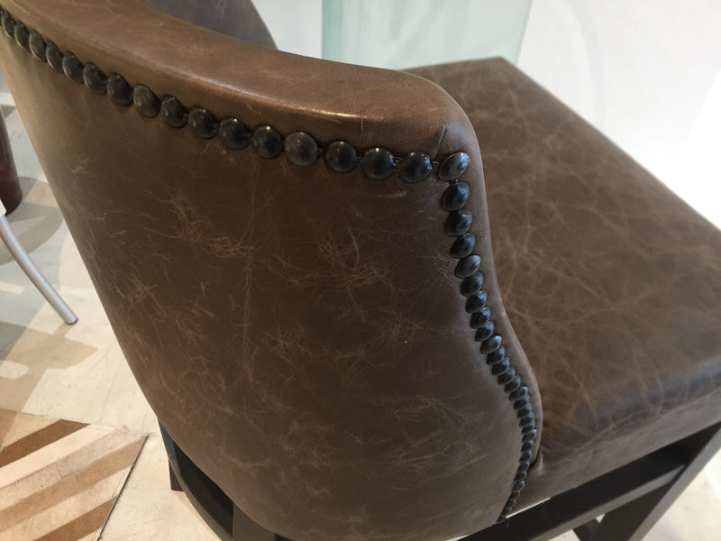 Trenzseater Leather Bar Stool with Studded detail