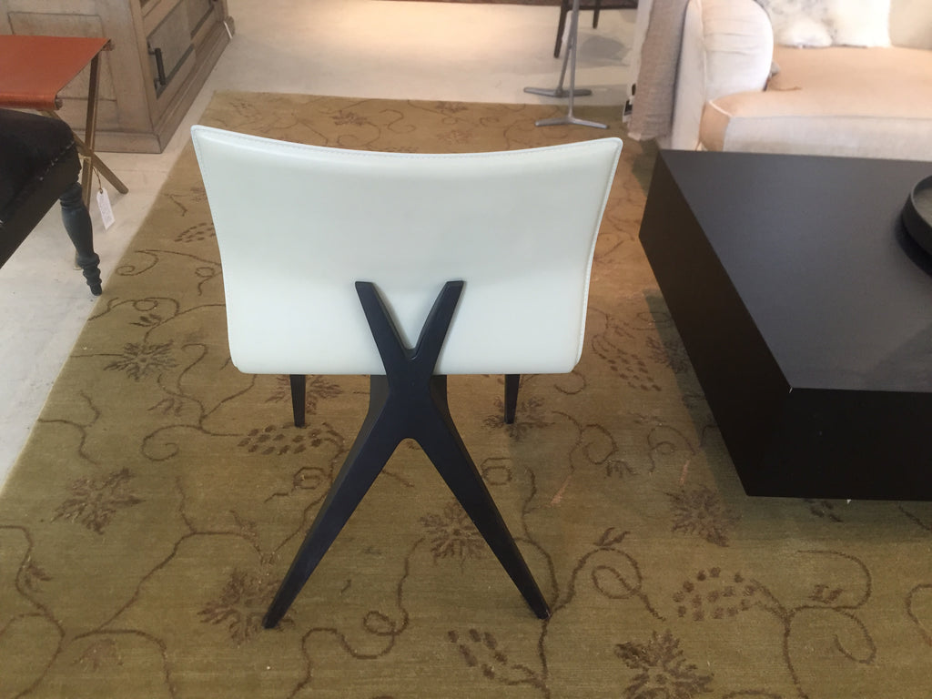 Leather Dining Chair with X-Back Detail