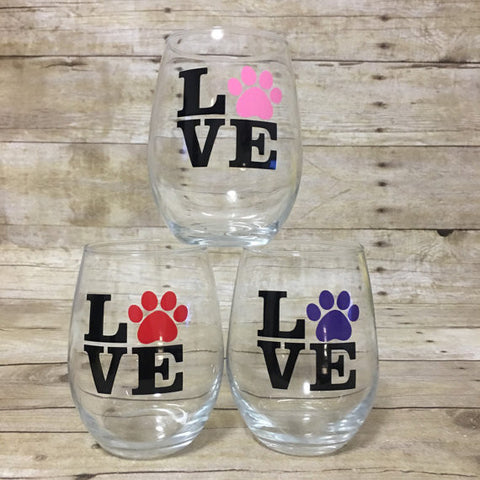 LOVE Paw Print Wine Glass