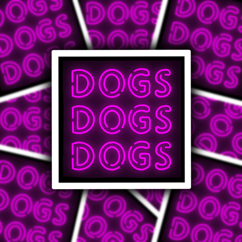 DOGS Neon Sign Sticker - Free Shipping
