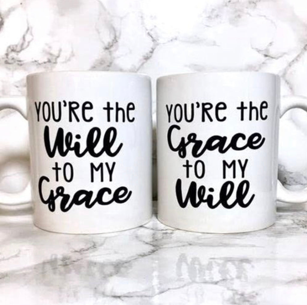 Set of Two! Will & Grace Coffee Mugs.