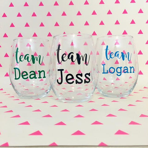 Gilmore Girls - Team Jess / Team Dean / Team Logan Wine Glass
