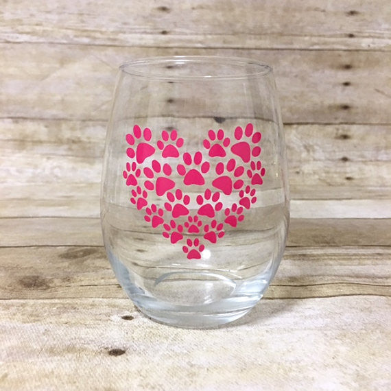 Paw Print Heart Wine Glass