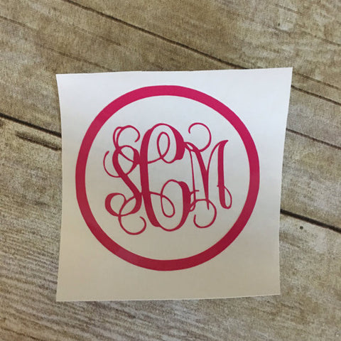 Script Monogram Decal - Circle Outline