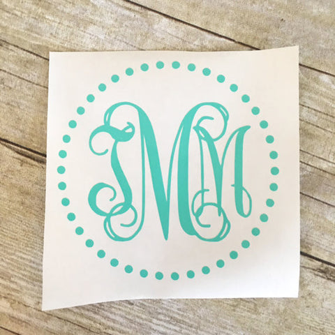 Script Monogram Decal - Dots Outline