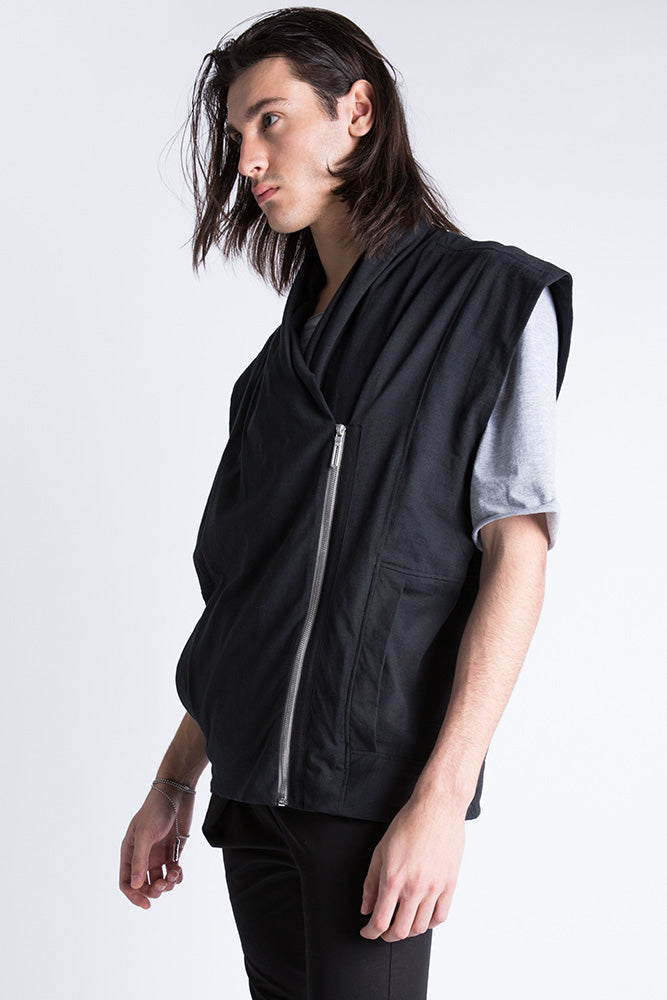 Casa Como wool moto vest with metal zipper.