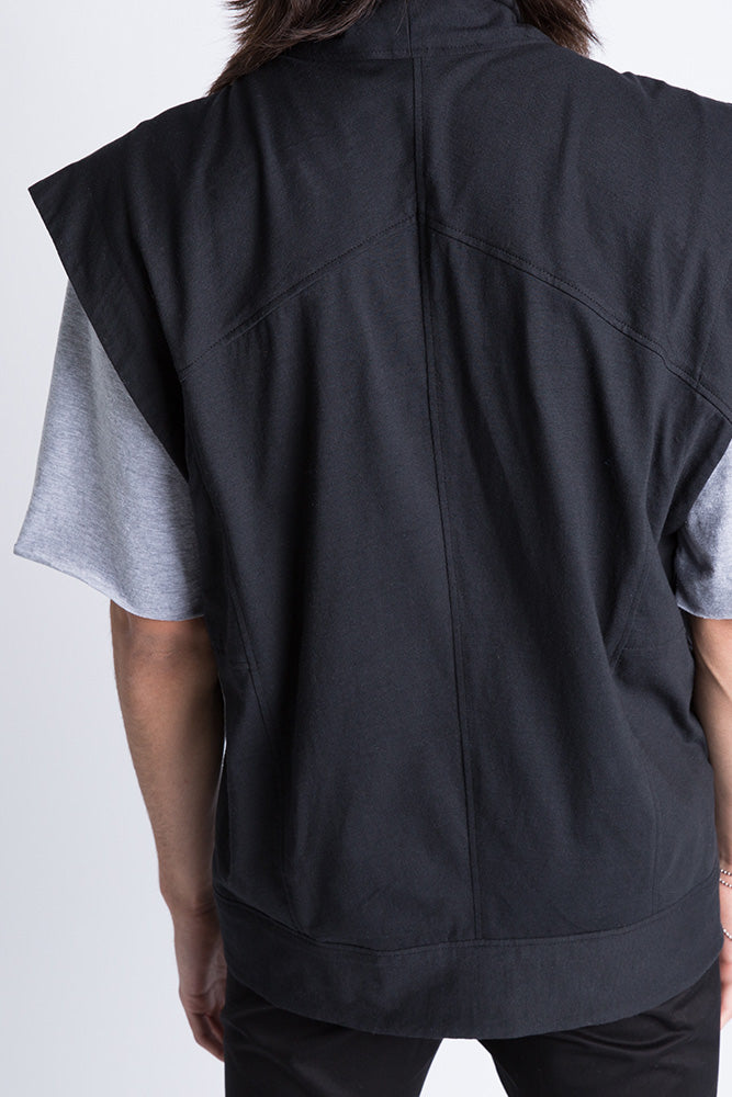 Back of Casa Como wool moto vest with metal zipper.