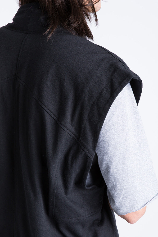 Close-up of Casa Como wool moto vest with metal zipper.
