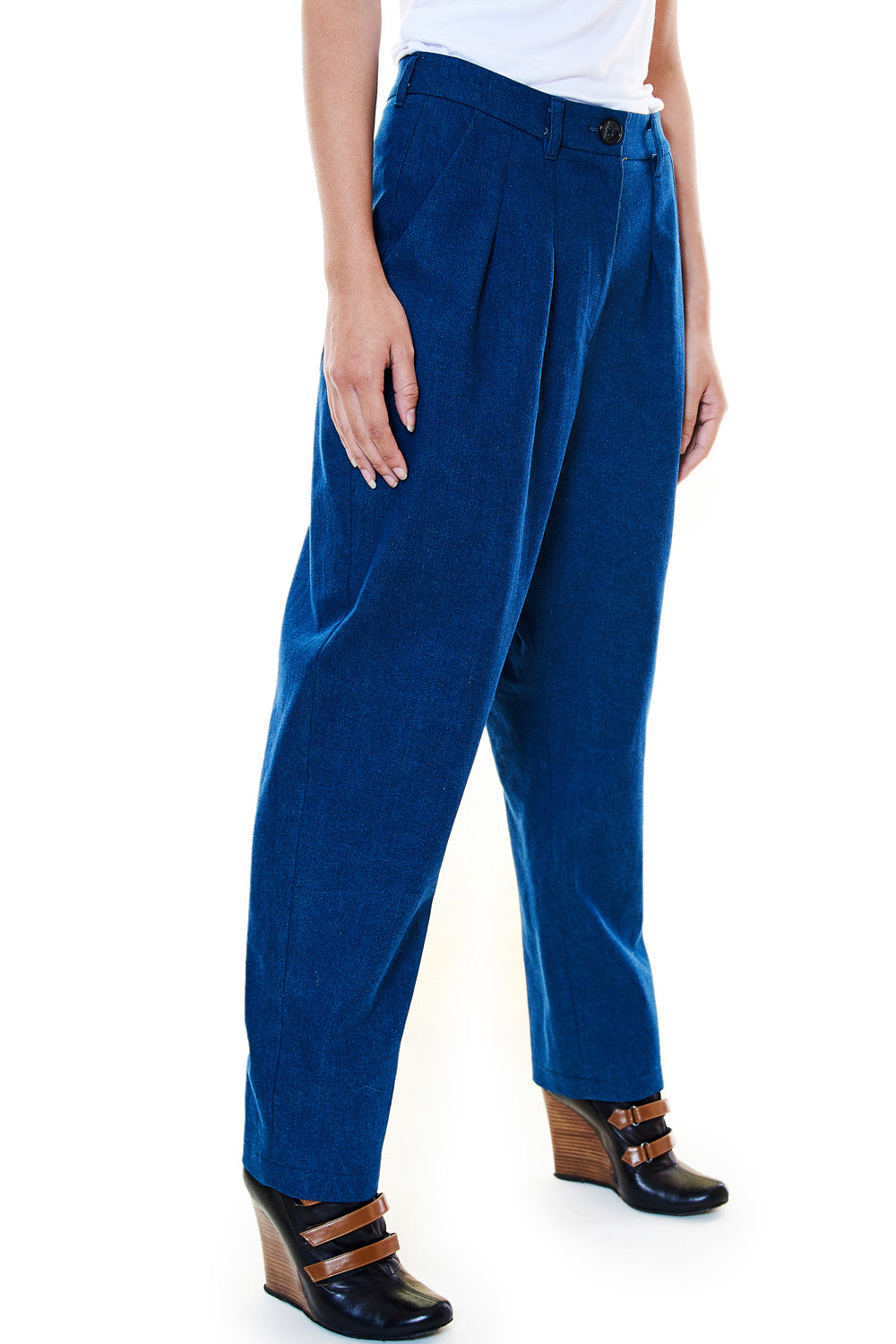 Blue Crepe Trouser - casacomostyle