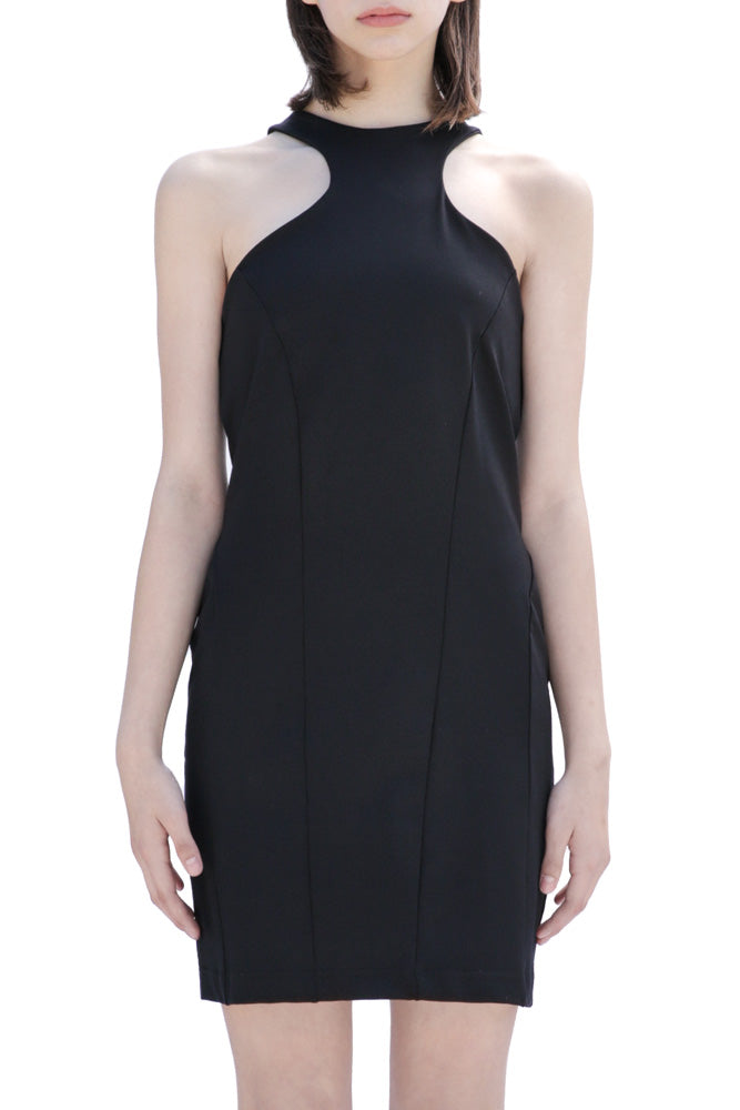 Casa como fitted black dress with curved collar and exposed zipper.