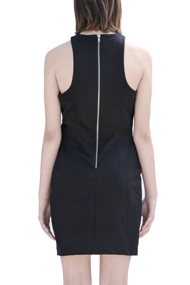 Back of Casa Como fitted black dress with curved collar and exposed zipper.