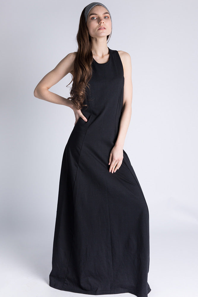 Casa Como full length black dress with twisted open back.
