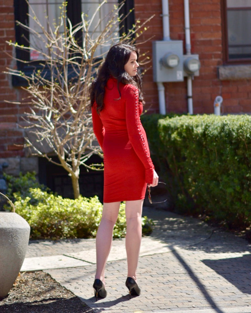 Pin Detail Red Dress - casacomostyle