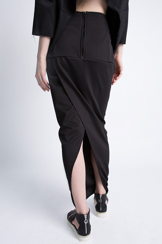 Black Pillar Slit Skirt - casacomostyle