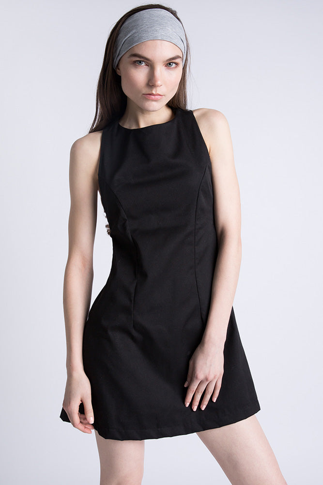 Casa Como black sleeveless mini dress with racer back.