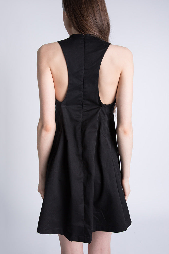 Back of Casa Como black sleeveless mini dress with racer back.