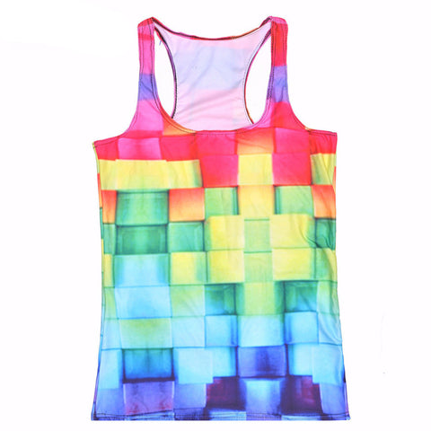 Color Grid Fence Tank Top