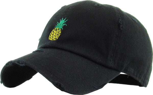 Pineapple Embroidered Distressed Dad Hat Baseball Cap