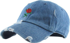 Rose Embroidered Dad Hat Baseball Cap