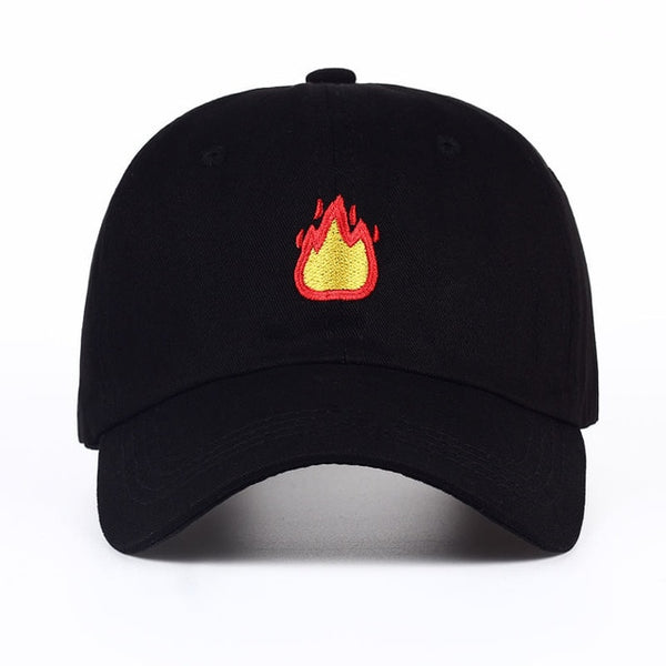 Fire Emoji Embroidered Dad Hat Cap Unisex