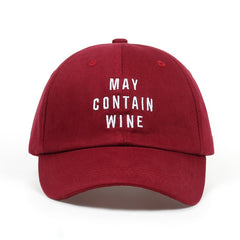 Embroidered May Contain Wine Dad Hat Cap Unisex