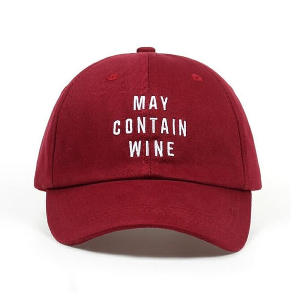 May Contain Wine Embroidered Dad Hat Cap Unisex
