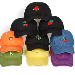 Various Fruit Styles Embroidered Dad Hat Cap Unisex