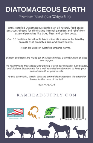 DE | Diatomaceous Earth | rsco | ramhead supply | supplements | parasites | dewormer | goats | sheep | cattle | livestock | horses | pigs | chickens | dogs