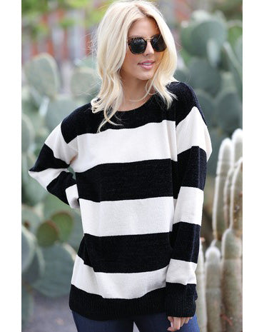 black & white striped chenille sweater