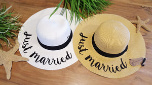 Secret Getaway Just Married Tan Sun Hat