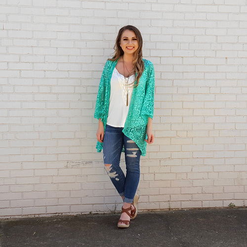 Notice This Light Teal Lace Kimono