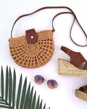 natural tan rattan handbag