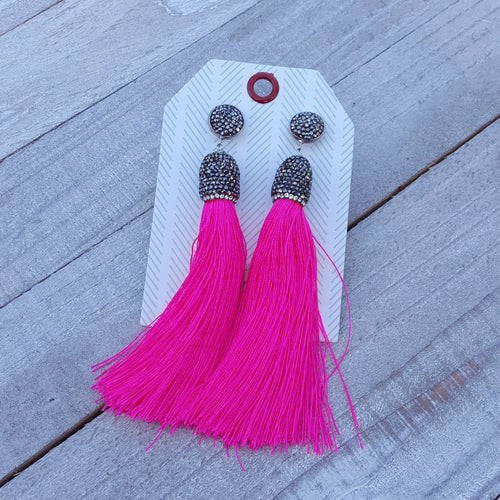 Tease Me Pink Tassel Earrings