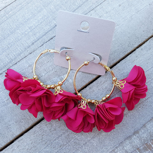 Beg Your Pardon Fuschia Rose Earrings