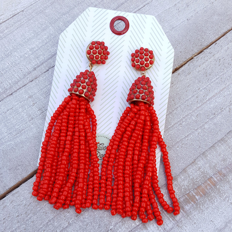 Uptown Red Tassel Earring