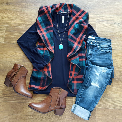 Guilty Pleasure Navy Plaid Vest