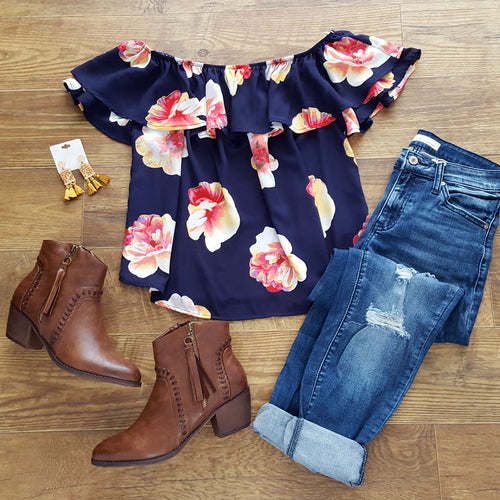 Blossoming Affection Navy Top