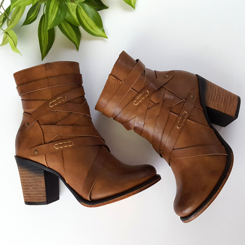 A New Direction Tan Heeled Booties