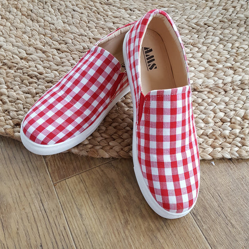Endless Weekends Red Gingham Slip On Sneakers