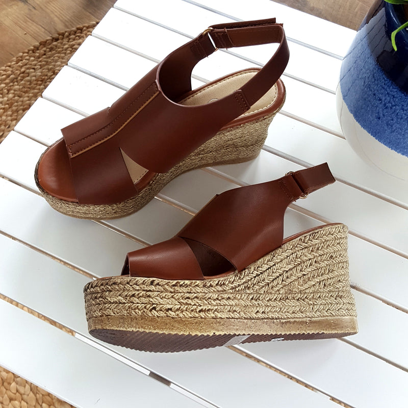 Moving Up Tan Wedge Sandals