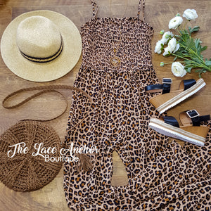 leopard bell bottom smocked jumpsuit