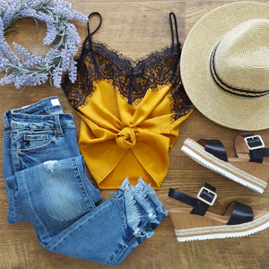 silky gold lace cami
