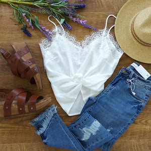 silky white lace cami