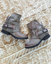 grey buckled boho military booties