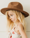 child toddler brown tan felt hat