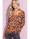 caramel tan leopard distressed sweater