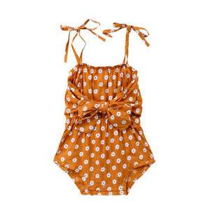 rust orange floral daisy girls romper
