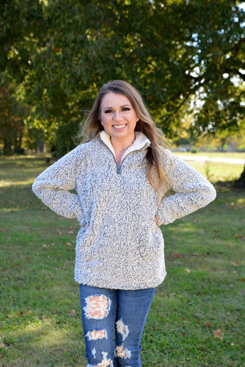 Warmest Embrace Grey Sherpa Pullover